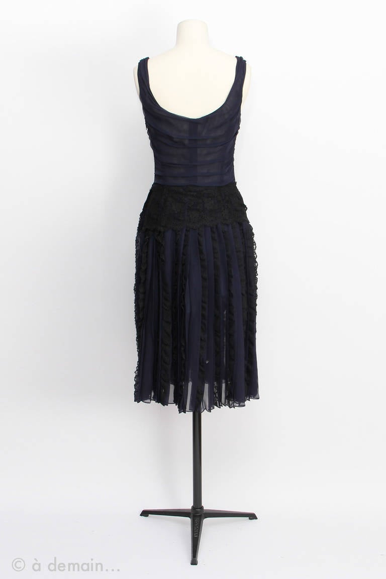 Black 1990s Dolce Gabbana Haute Couture in Chiffon and Lace Dress For Sale