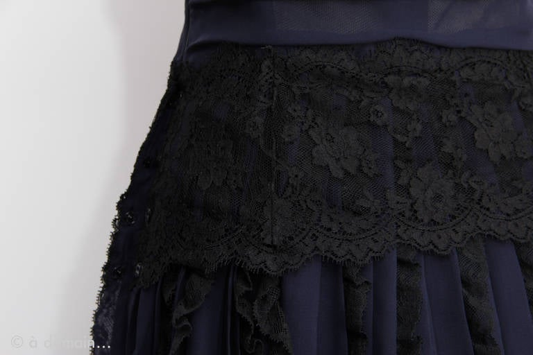 Women's 1990s Dolce Gabbana Haute Couture in Chiffon and Lace Dress For Sale