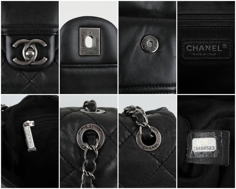 "New CHANEL Black Lagerfeld Calfskin ""IN THE MIX"" Jumbo Double Flap Bag S/S 2012 9"