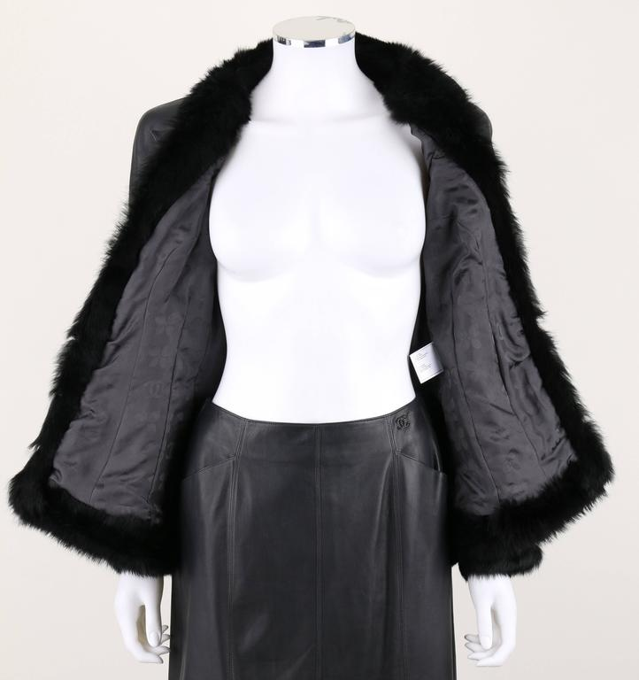 CHANEL 2 Pc Black Lambskin Leather Fur Trim Blazer Skirt Suit Set SZ 38 / 40 02A For Sale 1