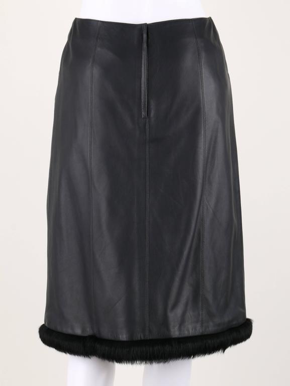 CHANEL 2 Pc Black Lambskin Leather Fur Trim Blazer Skirt Suit Set SZ 38 / 40 02A For Sale 3
