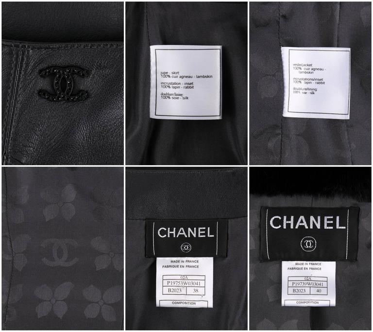 CHANEL 2 Pc Black Lambskin Leather Fur Trim Blazer Skirt Suit Set SZ 38 / 40 02A For Sale 6