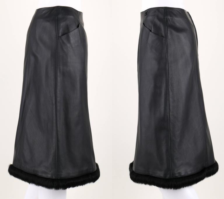 CHANEL 2 Pc Black Lambskin Leather Fur Trim Blazer Skirt Suit Set SZ 38 / 40 02A For Sale 4
