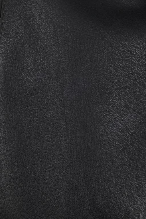 CHANEL 2 Pc Black Lambskin Leather Fur Trim Blazer Skirt Suit Set SZ 38 / 40 02A For Sale 5