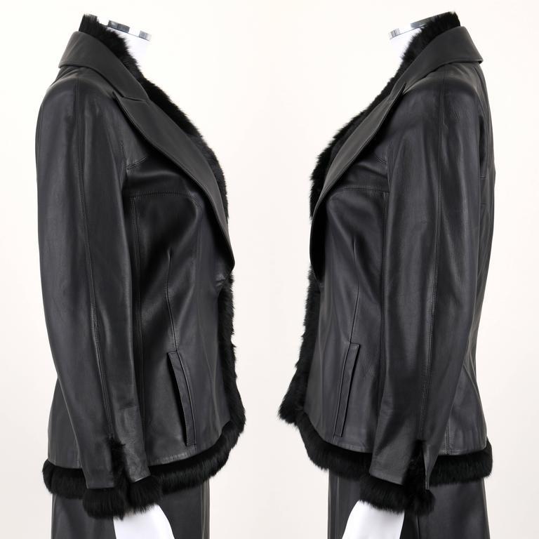 Women's CHANEL 2 Pc Black Lambskin Leather Fur Trim Blazer Skirt Suit Set SZ 38 / 40 02A For Sale