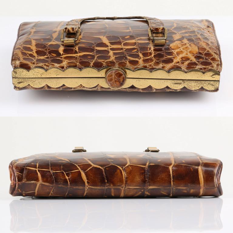 238c719132d ... coupon code for brown vtg hermes 1930s genuine alligator crocodile croc handbag  purse rare for sale