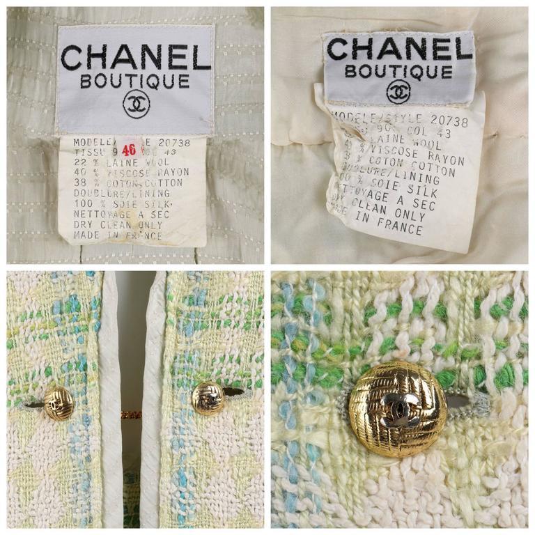 CHANEL Boutique S/S 1984 2 Pc Classic Tweed Blazer Jacket Skirt Suit Set 40 / 46 8