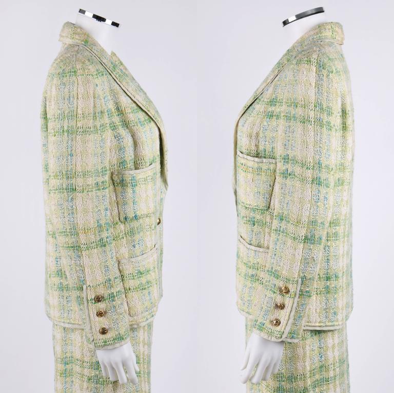 CHANEL Boutique S/S 1984 2 Pc Classic Tweed Blazer Jacket Skirt Suit Set 40 / 46 3