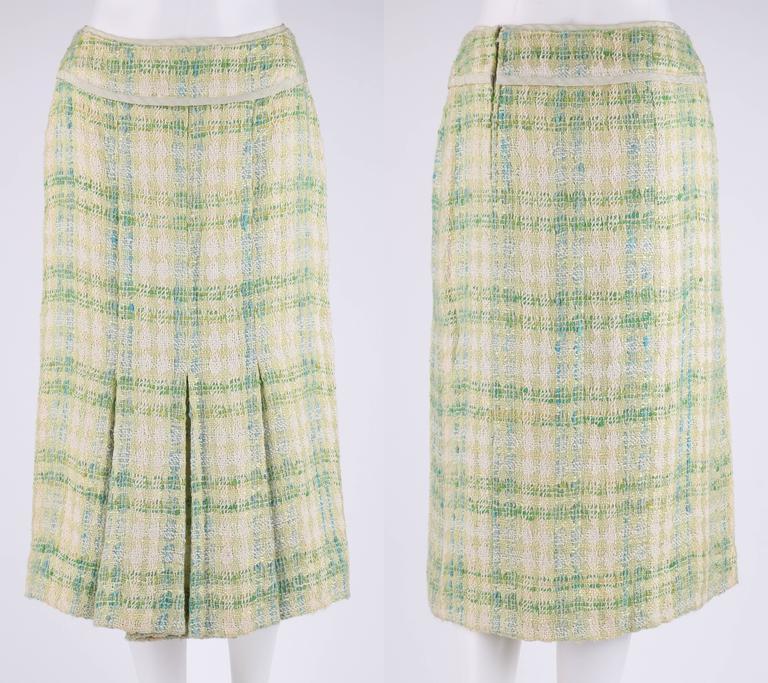 CHANEL Boutique S/S 1984 2 Pc Classic Tweed Blazer Jacket Skirt Suit Set 40 / 46 5