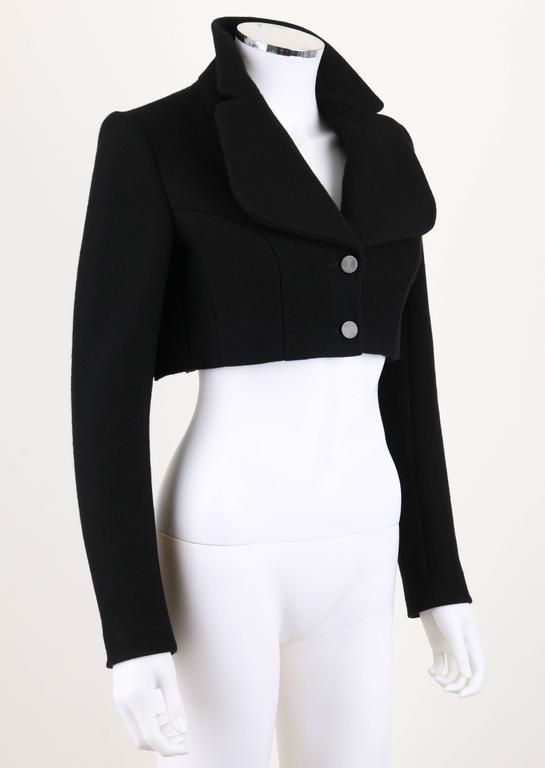 AZZEDINE ALAIA Paris Black Wool Cashmere Pleated Cropped Jacket ...