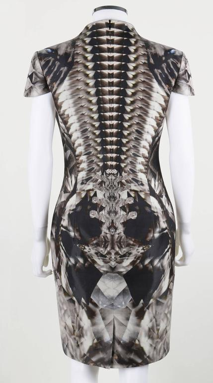 Rare and iconic skeletal kaleidoscope print dress from Alexander McQueen's Spring-Summer 2009