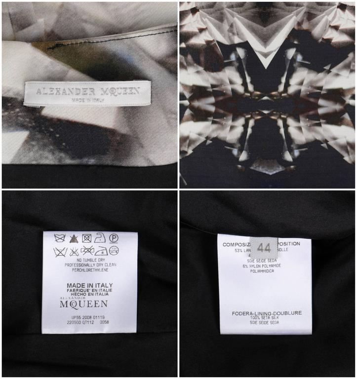 ALEXANDER McQUEEN S/S 2009 Iconic Skeleton Kaleidoscope Print Dress Size 44 For Sale 2