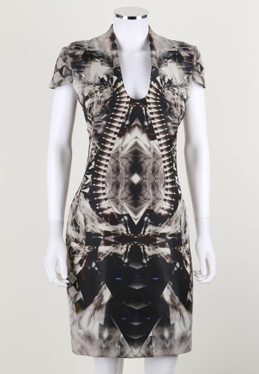 Black ALEXANDER McQUEEN S/S 2009 Iconic Skeleton Kaleidoscope Print Dress Size 44 For Sale