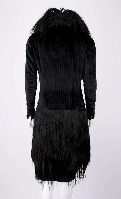 Women's Black Monkey Fur Silk Velvet Avant Garde Art Deco Flapper Coat Circa 1920's OOAK For Sale