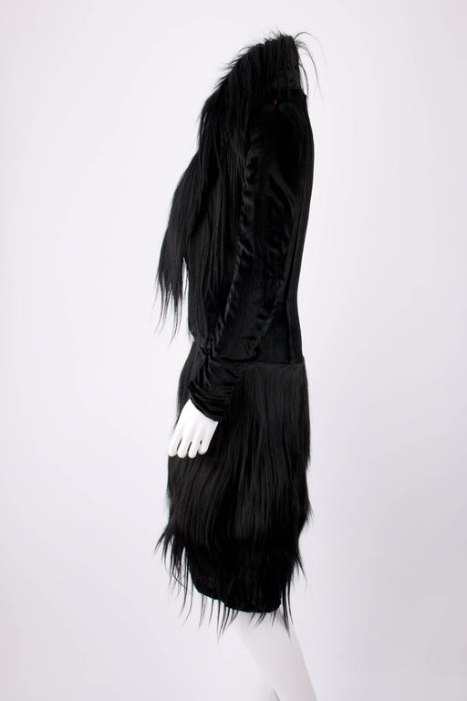 Black Monkey Fur Silk Velvet Avant Garde Art Deco Flapper Coat Circa 1920's OOAK For Sale 1