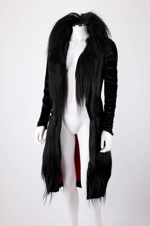 Black Monkey Fur Silk Velvet Avant Garde Art Deco Flapper Coat Circa 1920's OOAK For Sale 2