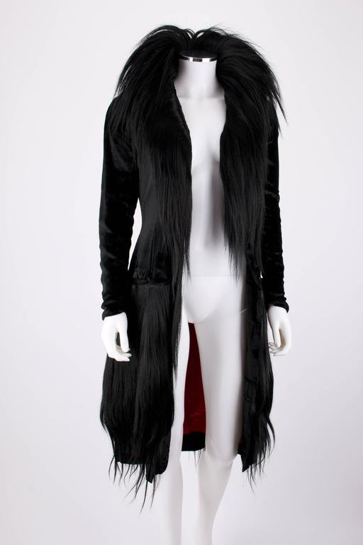 Black Monkey Fur Silk Velvet Avant Garde Art Deco Flapper Coat Circa 1920's OOAK 2