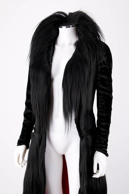 Black Monkey Fur Silk Velvet Avant Garde Art Deco Flapper Coat Circa 1920's OOAK 7