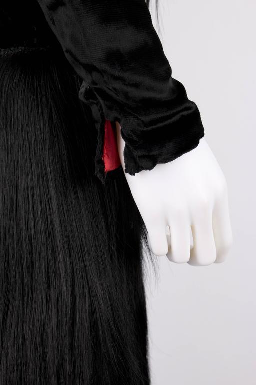Black Monkey Fur Silk Velvet Avant Garde Art Deco Flapper Coat Circa 1920's OOAK 8