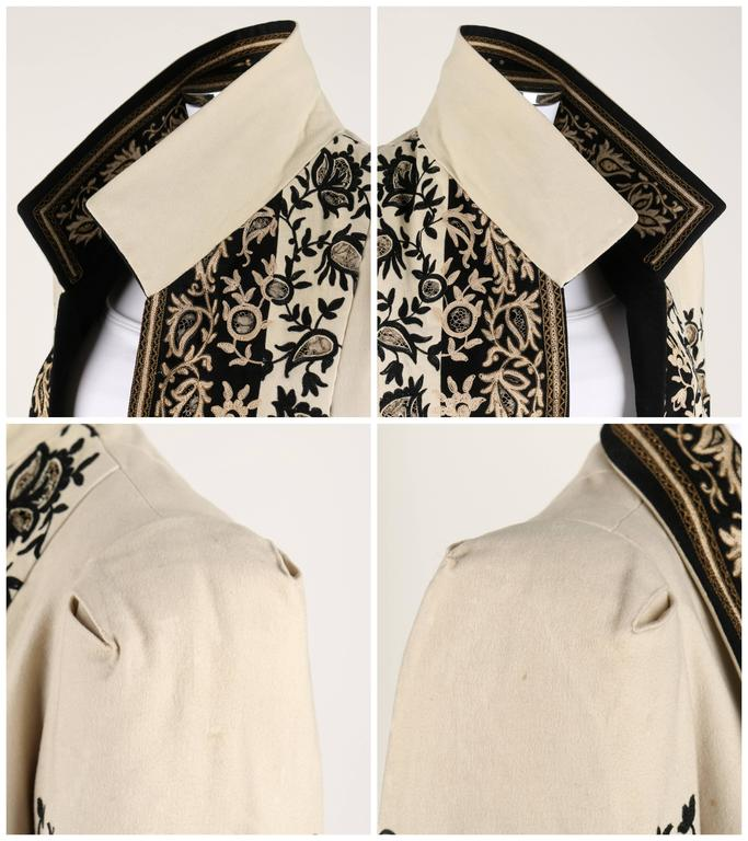 COUTURE c.1910's Edwardian Museum Piece Embroidered Cutwork Lace Jacket Coat For Sale 2