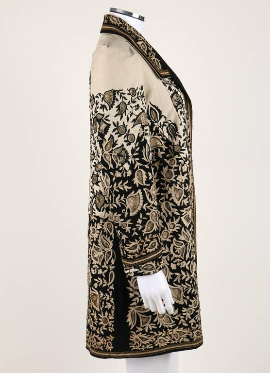 Black COUTURE c.1910's Edwardian Museum Piece Embroidered Cutwork Lace Jacket Coat For Sale