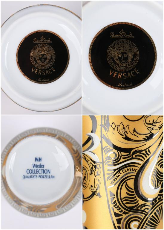 VERSACE ROSENTHAL Classic Gold Black Medusa Pattern Weider Collection Tea Set For Sale 4