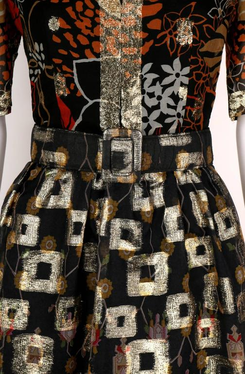 1960's OSCAR de la RENTA Boutique Multi-Color Metallic Silk Dress Belt Vintage 7