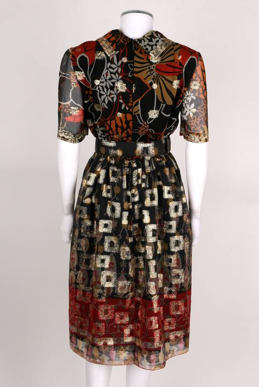 1960's OSCAR de la RENTA Boutique Multi-Color Metallic Silk Dress Belt Vintage 4