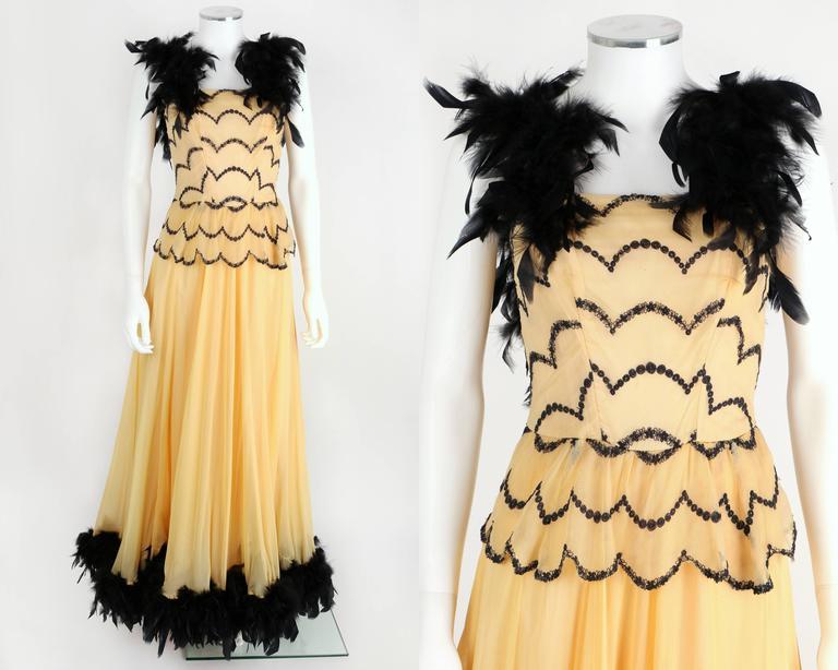 Ooak Vtg 1930s 1940s Black Feather Trim Evening Ballroom Dance