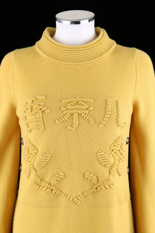 CHANEL PreFall 2010 Shanghai Collection Yellow Cashmere Tunic Knit Sweater Dress 6