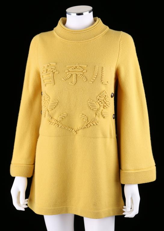 CHANEL PreFall 2010 Shanghai Collection Yellow Cashmere Tunic Knit Sweater Dress 5