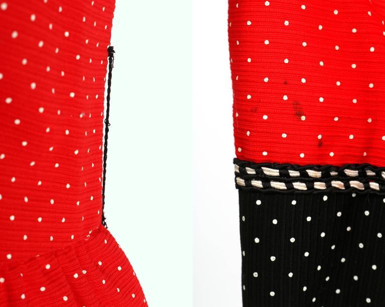 1960's Early OSCAR de la RENTA Boutique Red Polka Dot Short Sleeve Dress + Belt 9