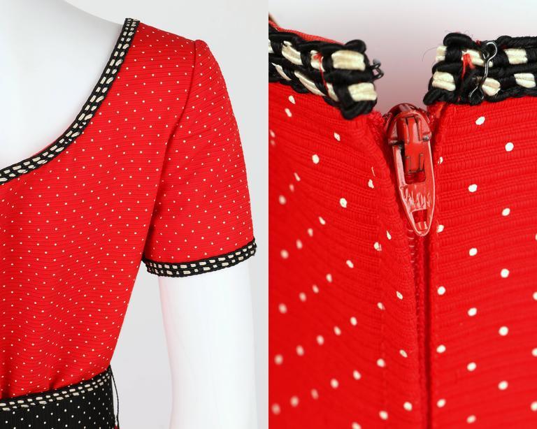 1960's Early OSCAR de la RENTA Boutique Red Polka Dot Short Sleeve Dress + Belt 8