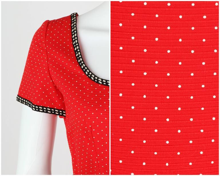 1960's Early OSCAR de la RENTA Boutique Red Polka Dot Short Sleeve Dress + Belt 7