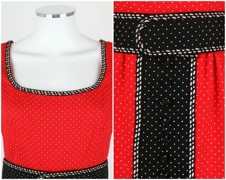 1960's Early OSCAR de la RENTA Boutique Red Polka Dot Short Sleeve Dress + Belt 6