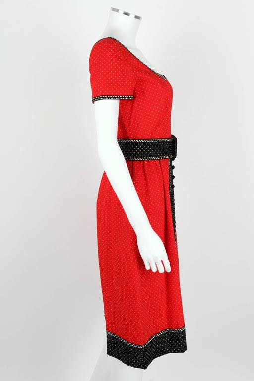 1960's Early OSCAR de la RENTA Boutique Red Polka Dot Short Sleeve Dress + Belt 3
