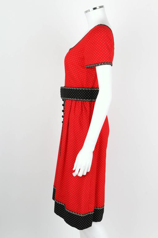 1960's Early OSCAR de la RENTA Boutique Red Polka Dot Short Sleeve Dress + Belt 5