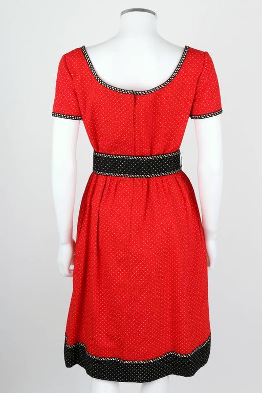 1960's Early OSCAR de la RENTA Boutique Red Polka Dot Short Sleeve Dress + Belt 4