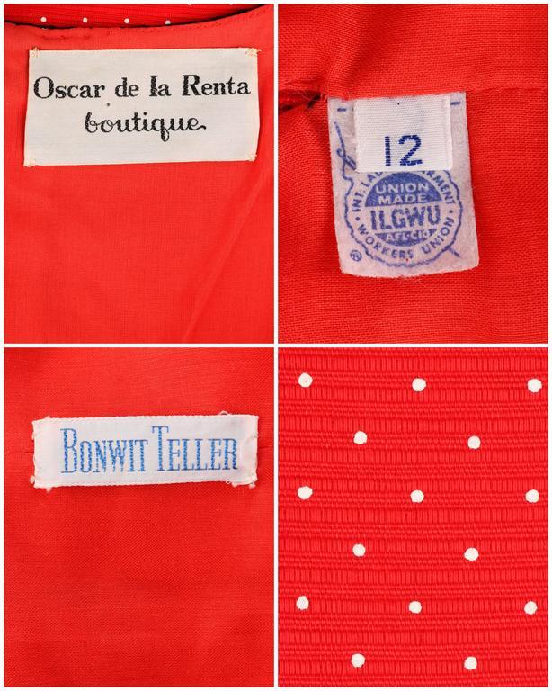 1960's Early OSCAR de la RENTA Boutique Red Polka Dot Short Sleeve Dress + Belt 10