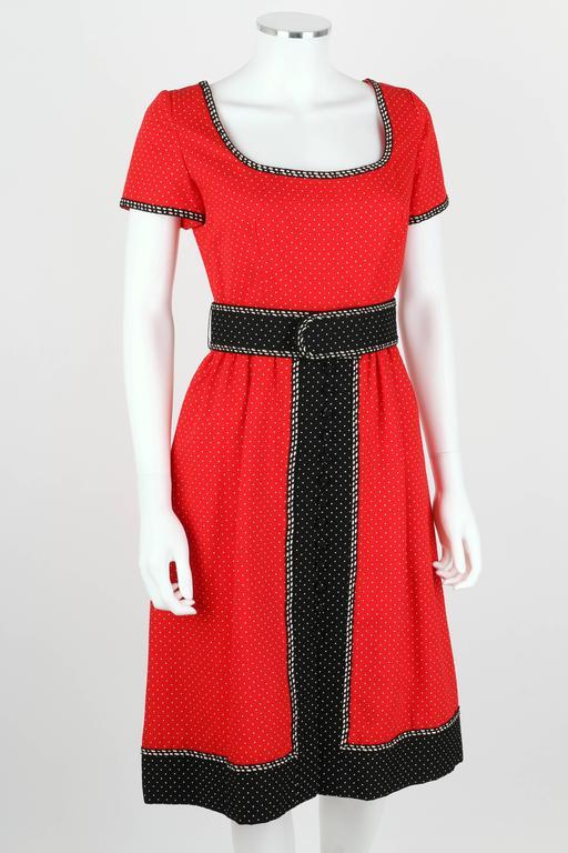 1960's Early OSCAR de la RENTA Boutique Red Polka Dot Short Sleeve Dress + Belt 2