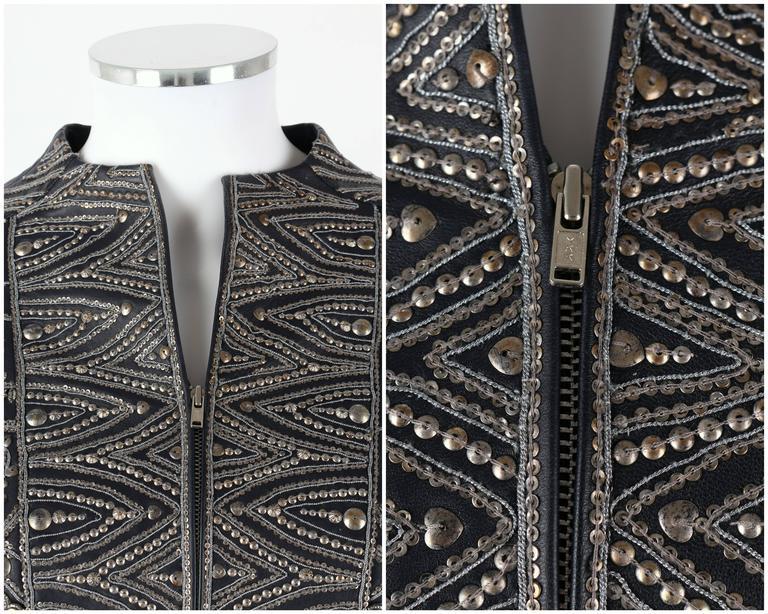 Women's OSCAR de la RENTA A/W 2006 Navy Leather Royal Embellished Jacket Blazer Size 4 For Sale