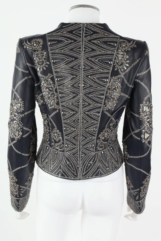 Black OSCAR de la RENTA A/W 2006 Navy Leather Royal Embellished Jacket Blazer Size 4 For Sale