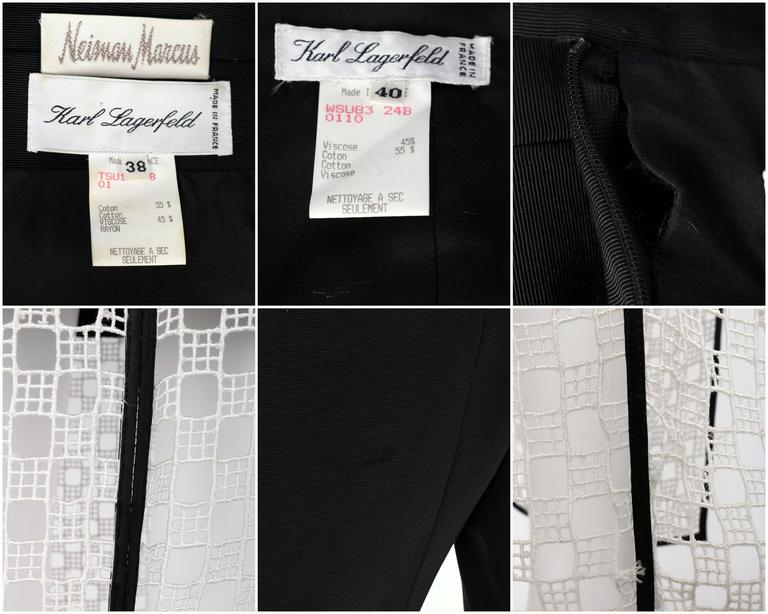 1980s KARL LAGERFELD 2pc Black Avant Garde Jacket Net Skirt Dress Set 38 / 40 For Sale 6