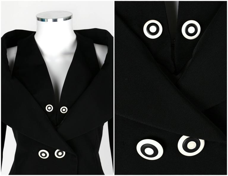 1980s KARL LAGERFELD 2pc Black Avant Garde Jacket Net Skirt Dress Set 38 / 40 For Sale 2
