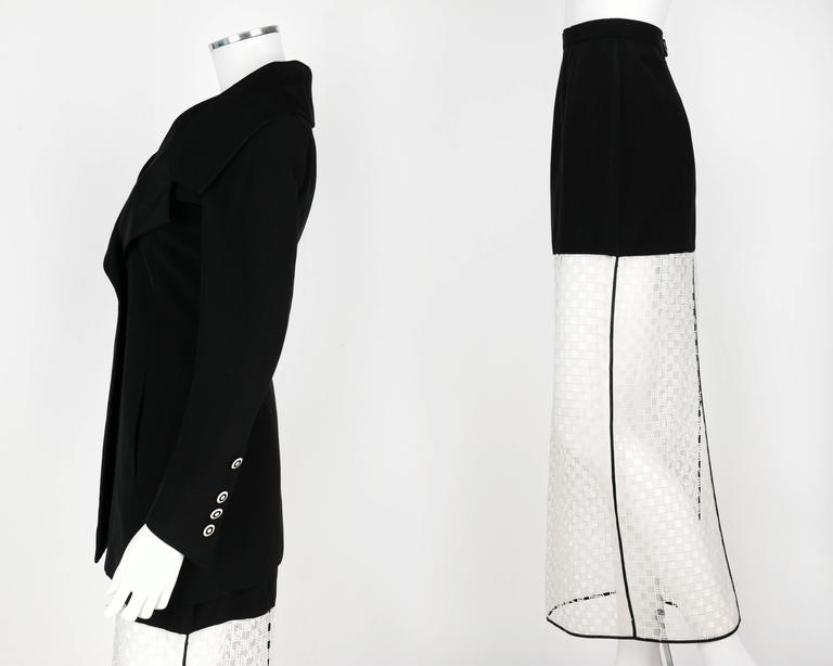1980s KARL LAGERFELD 2pc Black Avant Garde Jacket Net Skirt Dress Set 38 / 40 For Sale 1