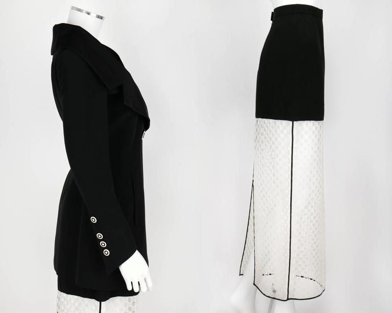 1980s KARL LAGERFELD 2pc Black Avant Garde Jacket Net Skirt Dress Set 38 / 40 In Excellent Condition For Sale In Thiensville, WI