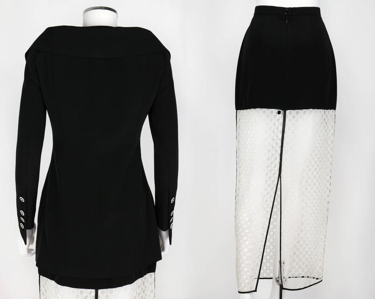 Women's 1980s KARL LAGERFELD 2pc Black Avant Garde Jacket Net Skirt Dress Set 38 / 40 For Sale