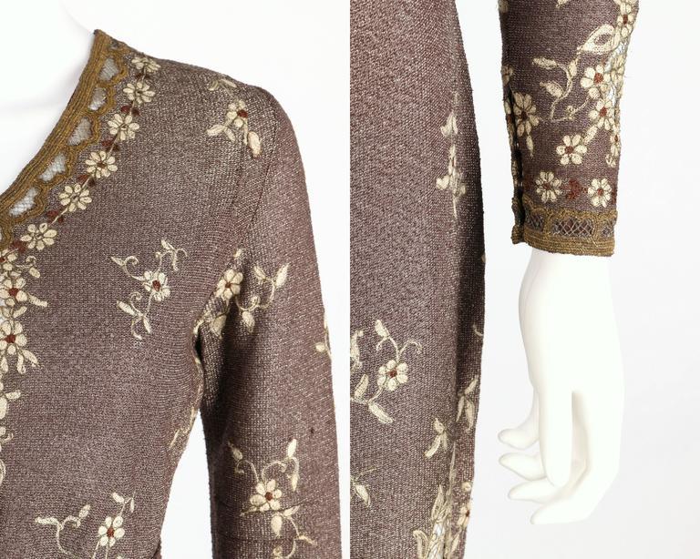 Ooak 1930 S Parisian Haute Couture Brown Bronze Metallic