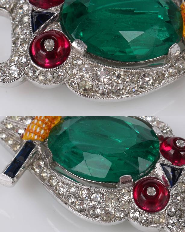 c.1941 CROWN TRIFARI Alfred Phillipe Emerald Owl Jelly Belly Fur Clip Brooch For Sale 5
