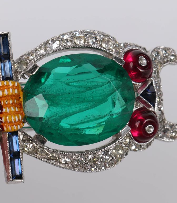 c.1941 CROWN TRIFARI Alfred Phillipe Emerald Owl Jelly Belly Fur Clip Brooch For Sale 4